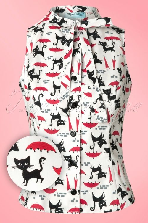 Heart of Haute ~ 50s Ella Bow Blouse with Raining Cats