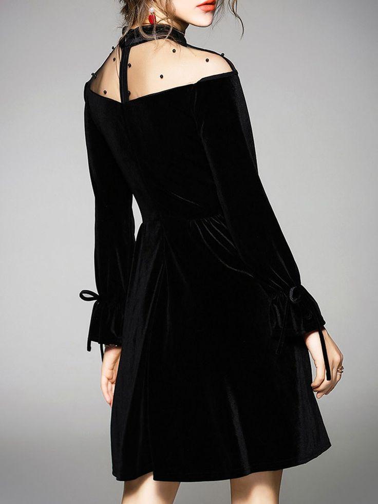 shop midi dresses black see through look a line long sleeve