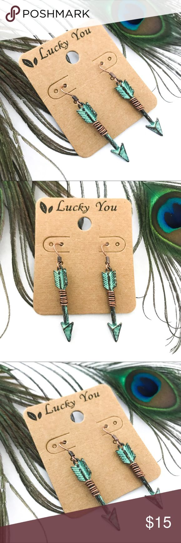 Handmade Oxidized Arrow Dangle Earrings Last one in stock! Brand new with tags! Great quality!   PRODUCT DETAILS: •Size: One size •Colors: Bronze, Copper, Oxidized Green •Made in China  •Dangle Style •Antique Oxidized Coloring •Wire Wrap accents   Tags: native American Indian tribal vintage bow boho bohemian Lucky You Jewelry Earrings