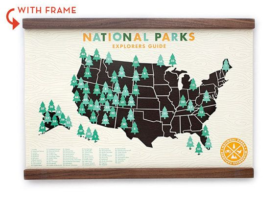 National Parks Checklist Map Guide Print 11x17