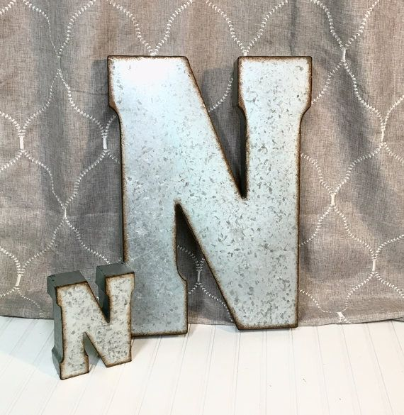 Metal Letters Letter N Large Farmhouse Wedding Galvanized Decor Mantl Wall Prop