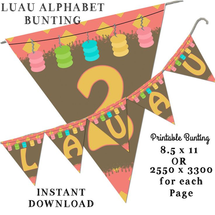 Luau Bunting, Printable Bunting, Flower Bunting, Hawaii Bunting, Birthday…