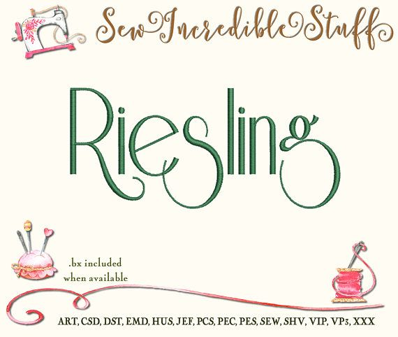 Art Deco Riesling Machine Embroidery Font, Upper Case, Lower Case, Symbols and Numerals. Great font to use for Monogrammed Towels, Wedding Presents, etc. Upper case letters range from 2 to 3 inches depending upon the letter. The most popular machine formats included in zipped file