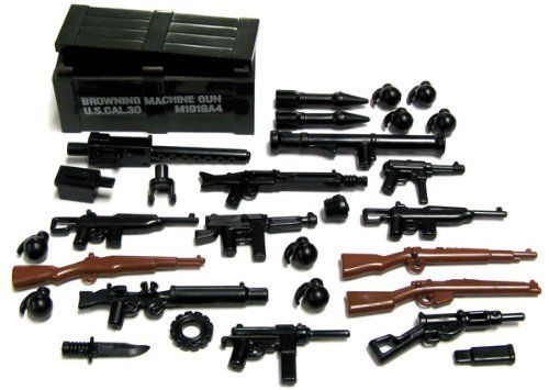 "BrickArms 2.5"" Scale Weapon Pack Set of 24 Weapons with Printed Crate by BrickArms. $17.99. Get some value with your pruchase with this fantastic weapons crate! It includes: Custom-Printed D.O.G. CrateMG42Lewis GunM1919X2 M1 Carbine - Wire StockM1A1 ThompsonsSten GunMP40BazookaM3 Grease GunKar 98M1 GarandLee Enfield SMLECombat KnifeX2 M6 RocketsX8 M67 Grenades"