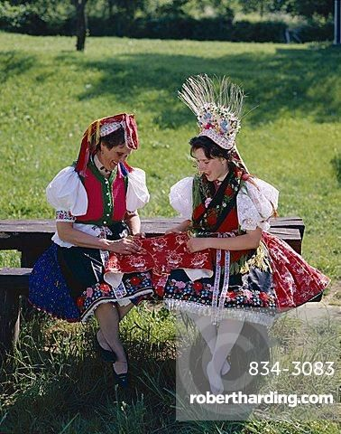 Women dressed in traditional folklore costume, Holloko, Hungary, Europe