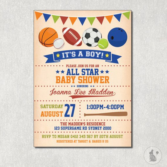 44 best sport baby shower images on pinterest | boy baby showers, Einladung