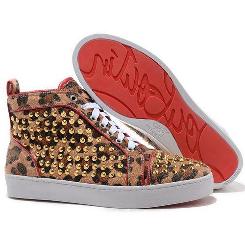 Discount Christian Louboutin Louis Gold Spikes Men Sneakers Leopard Print