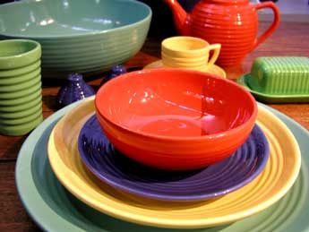 I remember when we got an entire set of Bauer's Pottery when I was a kid.  My mother let me put all the combinations of colors together for dinner every night.  I don't remember what we had before this but I know getting this was a big event in my life.