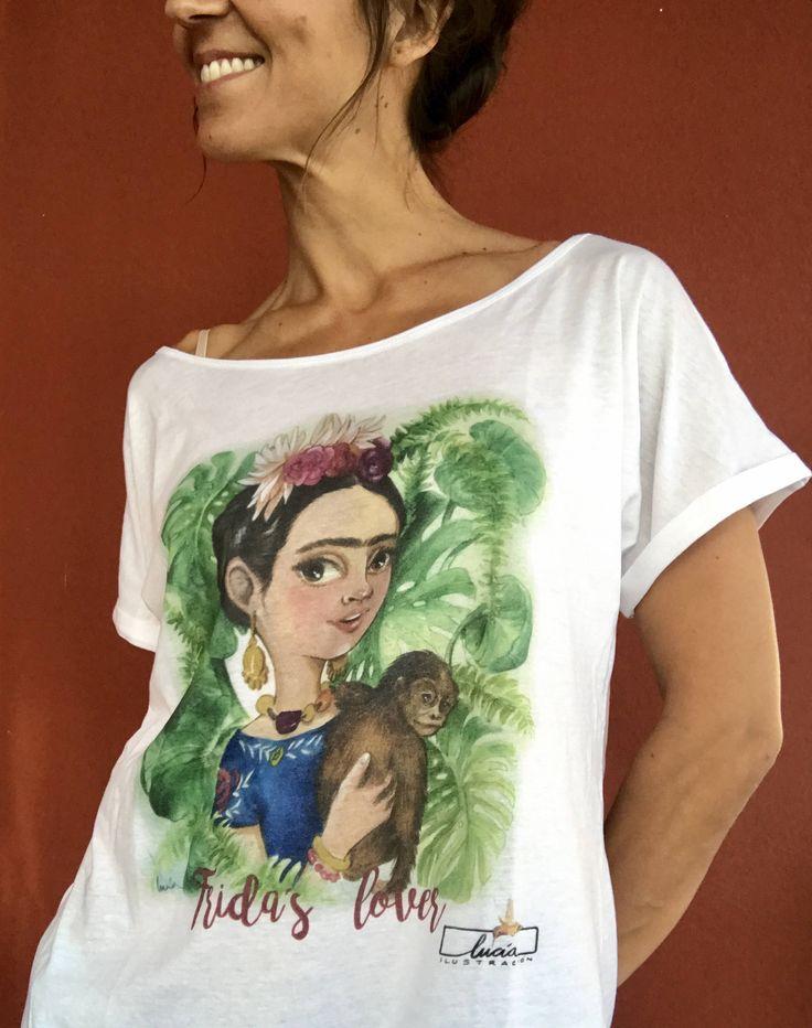 """Camiseta 100% algodón """"Frida"""" de luciaILUSTRACION en Etsy"""