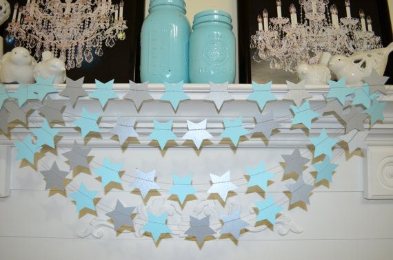 Twinkle Twinkle little star garland, blue and silver star garland, baby shower decorations, silver bridal shower decor, silver photo prop