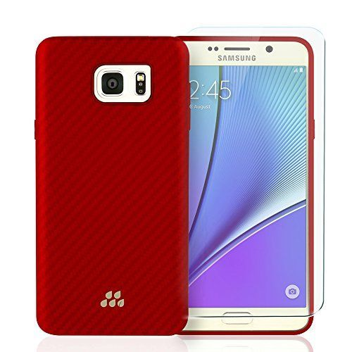 Evutec Karbon SI Lorica 00615mm Fiber Outer and TPU Inner 5x Stronger Military Drop Test Approved Carrying Case for Samsung Galaxy Note 5  TJS Tempered Glass Screen Protector  RedOrange -- Continue to the product at the image link.