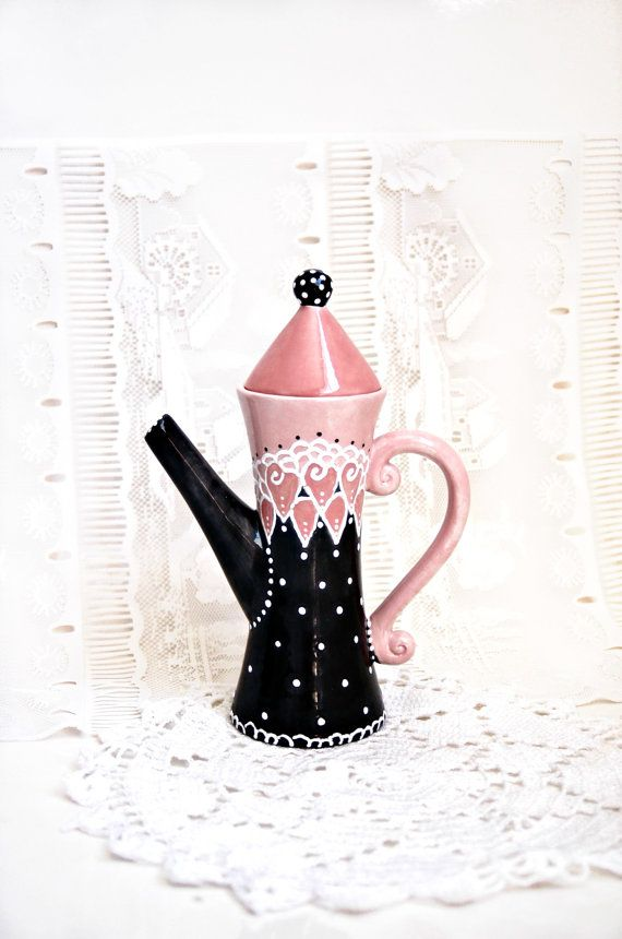 Black and White Teapot | Whimsical Victorian Teapot in Black, Pink and White