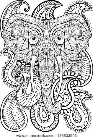 paisley elephant coloring pages - 3321 best images about coloring pages for adults on