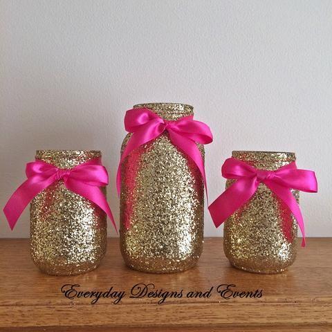 3 Jars, Hot Pink and gold mason jar set, Centerpiece set, Pink and Gold centerpiece, Baby shower decor, bridal shower, birthday decor