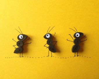 Ants on yellow background, quilled art, greeting card, blank card, insects, animals