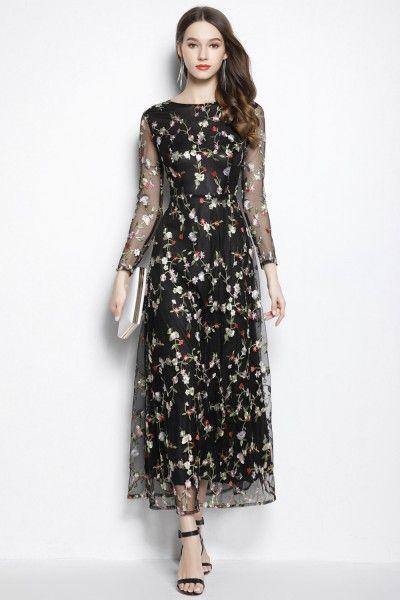 fbf7b182b4 Black Round Neck Sheer Sleeve Embroidery Party Dress -  95  C2065 -  SheProm.com