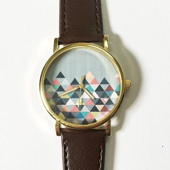 Pastel géométriques montagne, Style Vintage en cuir montre, femmes montres, montres unisexe, copain Watch, montre homme, Ladies Watch
