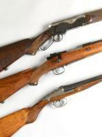 TOP: Rare FUSIL LARSEN WINTERROS à ouverture par levier sous garde Cal 16, mono canon damas de 70cm Crosse demi pistolet en noyer veiné