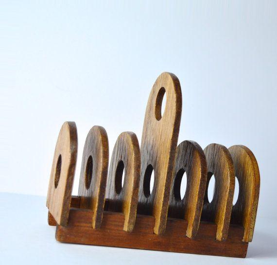 1970s Retro Toast Rack Vintage Toast Rack Vintage Breakfast Tableware Wood Toast Rack by FillyGumbo