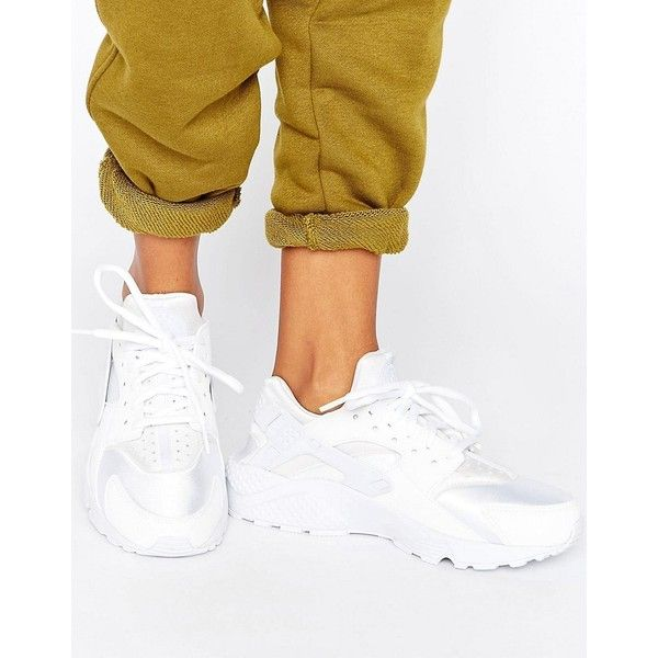 Nike Air Huarache Run Trainers In White ($115) ? liked on Polyvore  featuring shoes � White High Top SneakersWhite ...