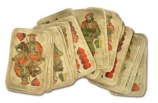 Hungarian playing cards, quite different from the Western Aces, Diamonds, spades and Clubs.