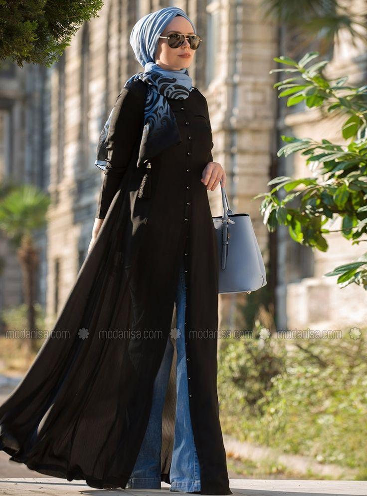 Maxi Button Tunic Dress - Black - Muslima Wear