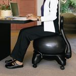I finally found it...ladies and gents, I've been saying for a long time that we all need to use balance balls as chairs.  I even think this would be amazing for my students in class instead of those crappy chairs they all have. I AM BUYING ONE NOW!!! you?