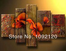 5 adet modern resim büyük duvar sanatı yağlıboya tuval oturma odası dekorasyon resimleri soyut resim elle boya(China (Mainland))