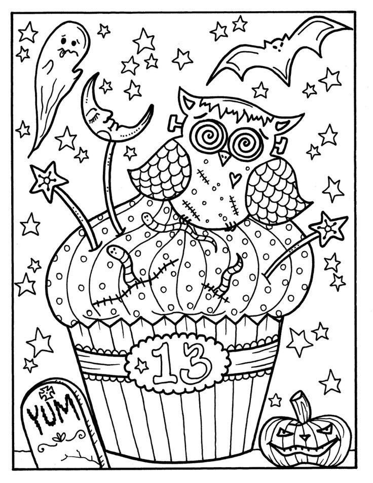 Halloween Cupcakes deel 2 printables volwassen kleurplaten