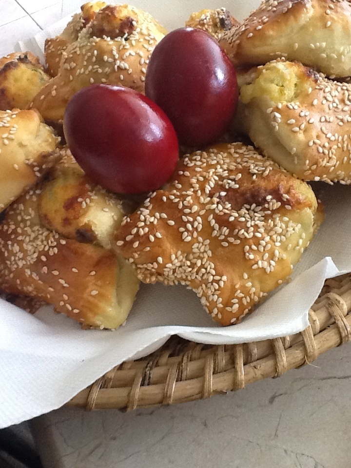 Easter in Cyprus. Flaounes and red eggs.