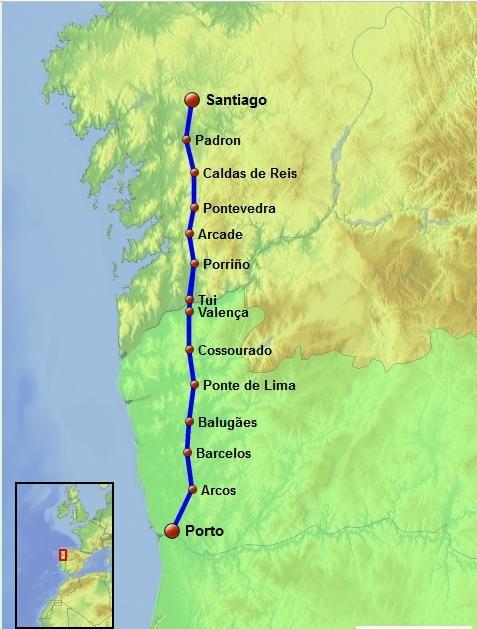 el camino de santiago walk map #caminodesantiago #waytosantiago #portuguesecaminodesantiago #saintjamesway