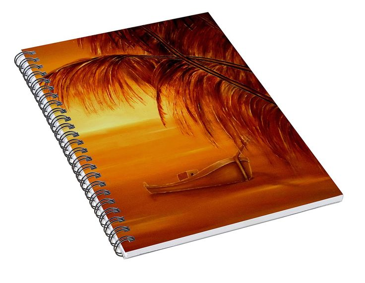 Spiral Notebook,  stationery,school,supplies,cool,unique,fancy,trendy,awesome,beautiful,design,unusual,modern,artistic,for,sale,items,products,office,organisation,tropical,palmtrees,sunset,boat,orange,brown