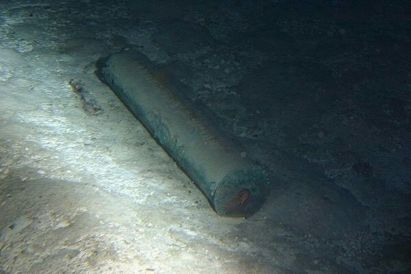 Wreck of the Bismarck - A shell casing from a main gun located in the debris field.