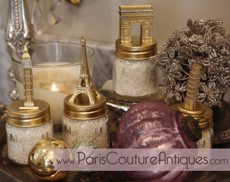 It is time to celebrate our birthday with Paris Couture Antiques! We are turning 10 this year and to celebrate we will be holding free giveaways from now until Jan 1st 2015!   This weeks contest is for a set of 4 iconic landmark mason jars filled with bath salts & beads.   To enter the contest you must pin this post & photo and tag Paris Couture Antiques in the pin. Its that easy!   A winner will be chosen and notified on the eve of Nov. 16th 2014.
