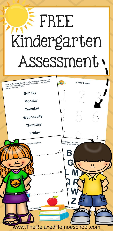 Kindergarten Assessment it's FREE! 13 pages to test Kindergarten readiness!