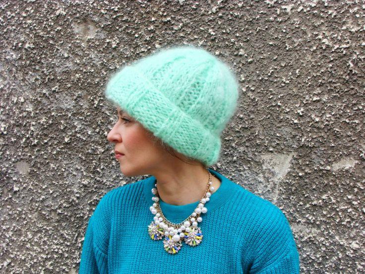 Nudakillers - Mohair Beanie pistachio, handmade, knitted