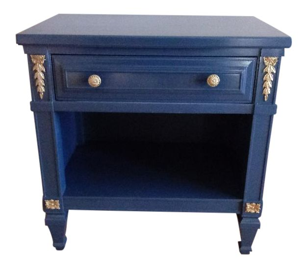 Drexel San Remo High Gloss Blue Nightstand on Chairish.com