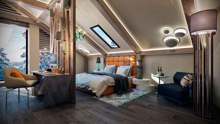 Спальня на мансардном этаже #дизайнспальни #дизайнкомнаты #дизайнинтерьера #спальня #дизайнквартиры #interiordesign #bedroomdesign #bedroom