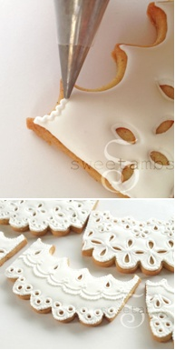 How to make eyelet lace cookies (SweetAmbs).