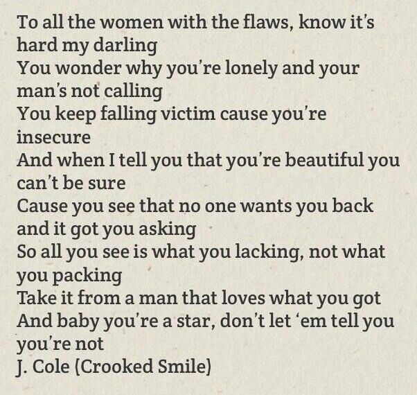 Crooked smile lyrics. I'm fave part in J. Cole song