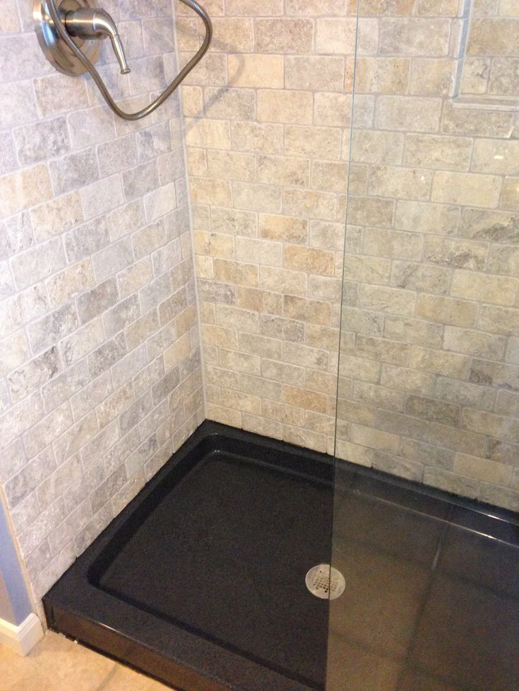 the onyx collection shower base color thunder and travertine subway tile