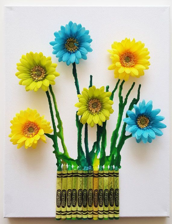 Melted Crayon Art  3D Flowers  Green Blue by MyHappyHeartArt