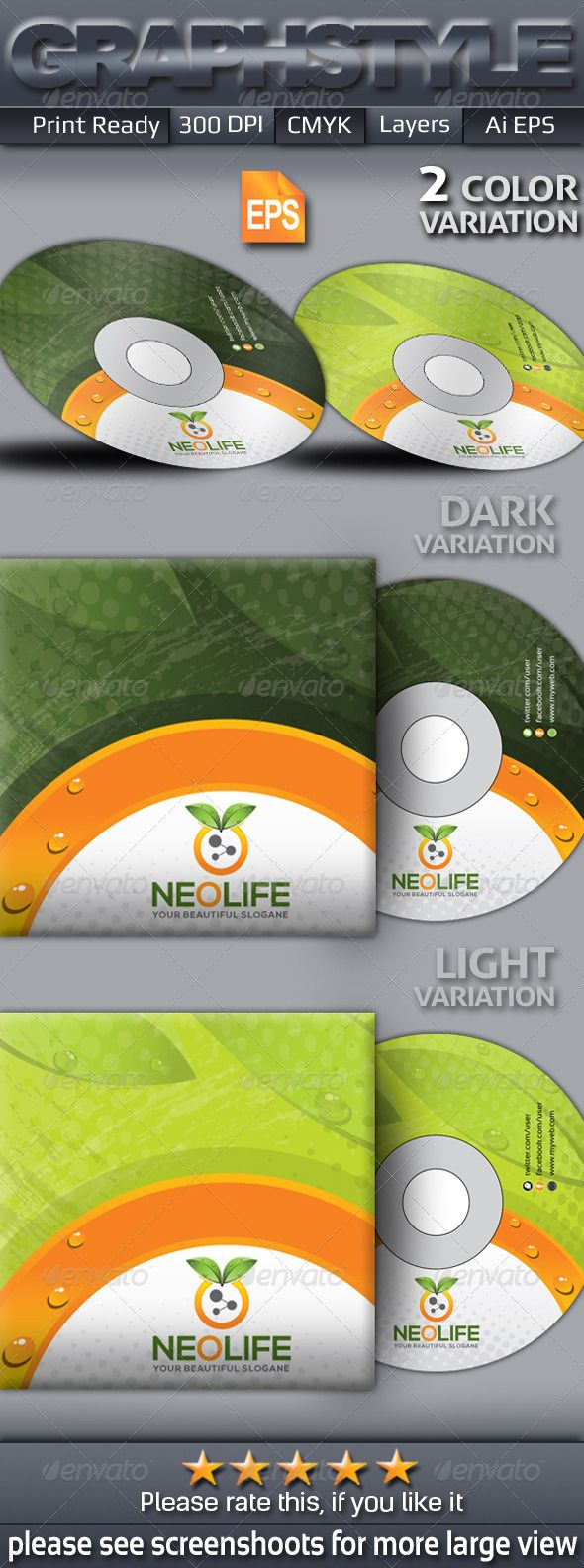 Cd box template download free vector art stock graphics amp images - Neolife_cd Sleeve Sticke Graphicriver