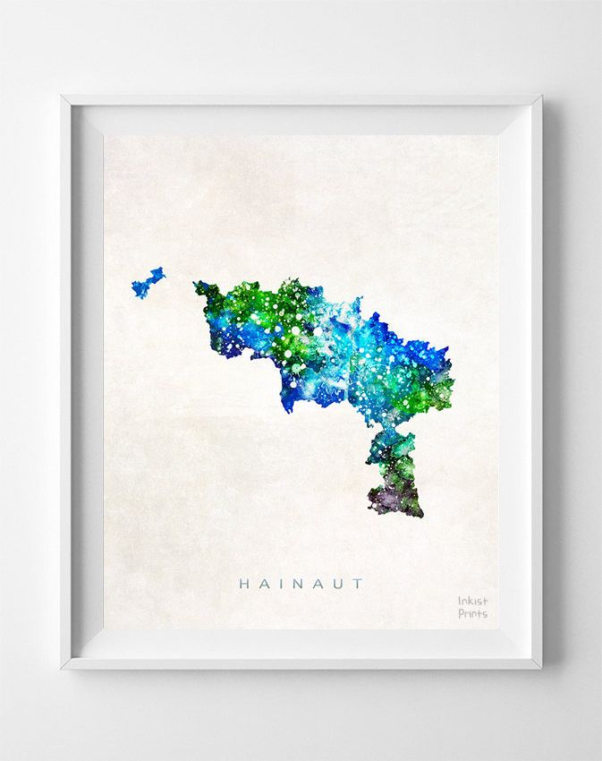 Hainaut Watercolor Map Print
