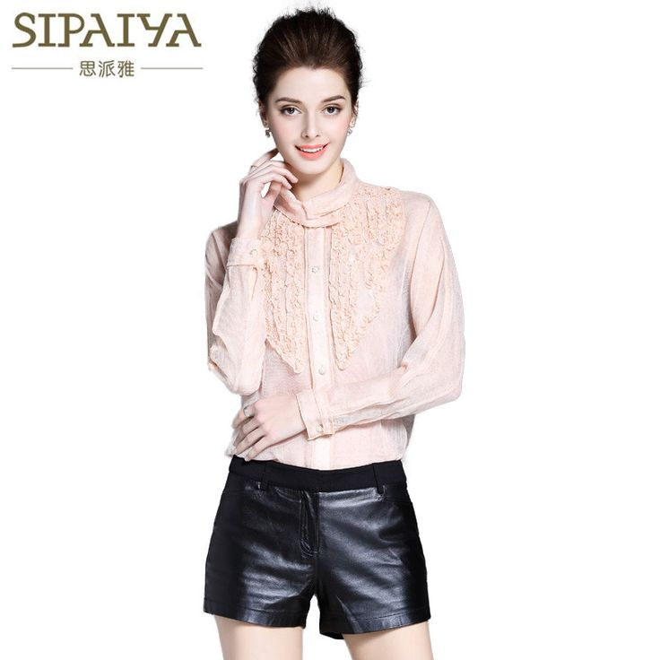 Luxury Brand SIPAIYA Fashion Women Embroidered Silk Blouse Womens Spring Ladies Office Work Wear Shirt Crochet Tops Feminina