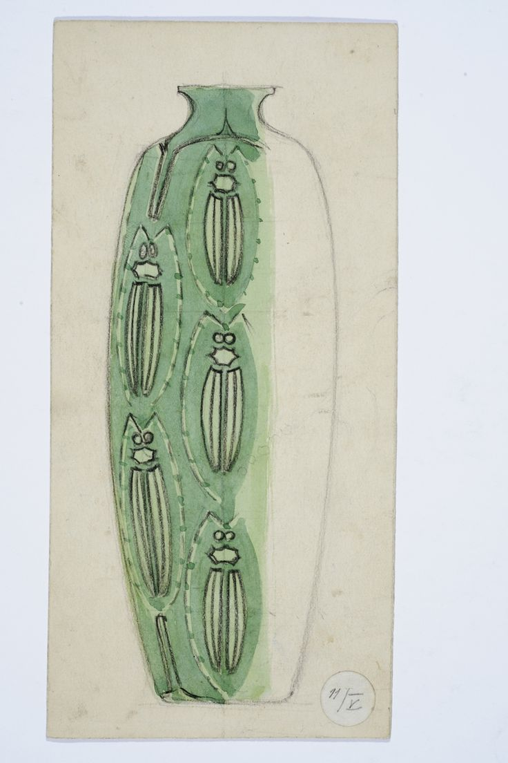 Gustav Gaudernack watercolor sketch for silver vase with green beetle enamel decor. 1906-1910 Tegning @ DigitaltMuseum.no