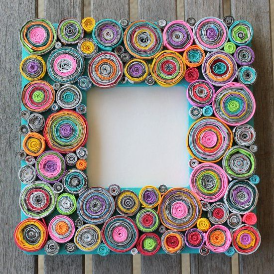 Super tedious and time consuming craft project using recycled magazines and pops of colored paper! Looks gorgeous though!