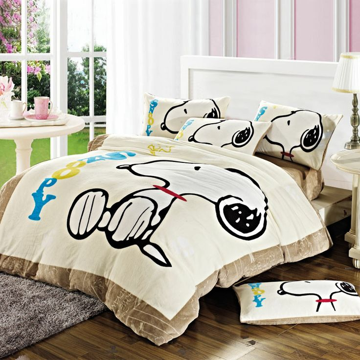 Snoopy Winter Duvet Cover Set Flannel Bedding