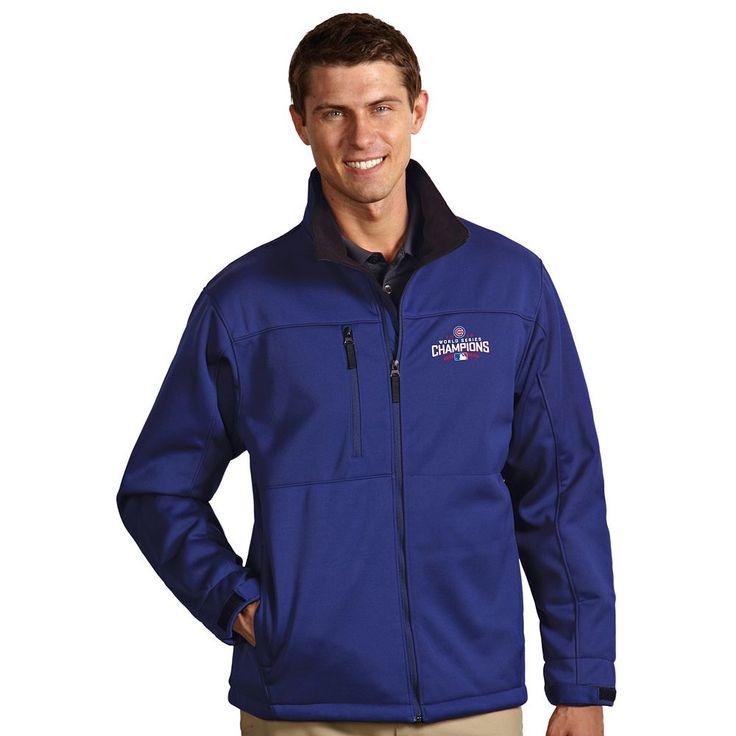 Men's Antigua Chicago Cubs 2016 World Series Champions Traverse Softshell Jacket, Size: Medium, Dark Blue