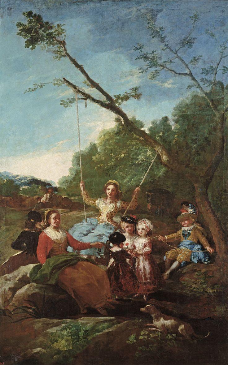 """Francisco de Goya: """"El columpio"""". Oil on canvas, 260 x 165 cm, 1779. Museo Nacional del Prado, Madrid, Spain"""